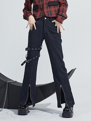 Black Punk Fashion Trumpet Jeans with Belts Decoration by Moon Faust