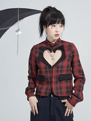 Red Plaid Punk Girl Top with Heart Shaped Hollow by Moon Faust