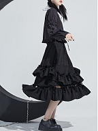 Black Long Winter Skirt with Layered Ruffles by Moon Faust
