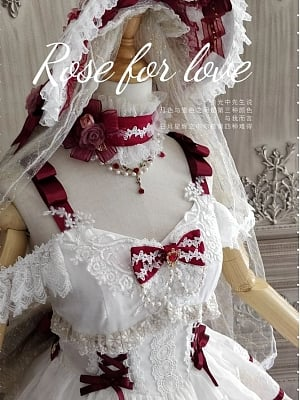 Rose for Love Hanayome Matching Bonnet / Veil / Back Bowknot / Choker / Hairclip by Mousse Cat