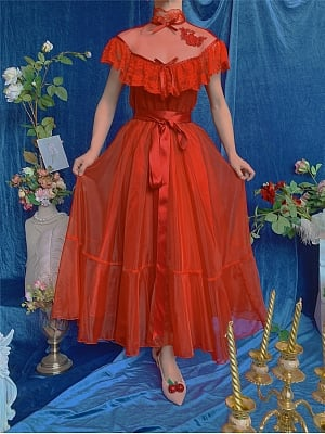 Sheer High Collar V Shaped Ruffled Lace Neckline Red Vintage Dress - Dorothy and Rose by Mu Qiao's Vintage
