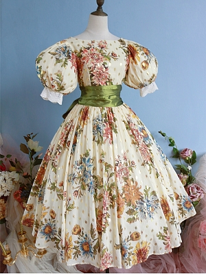 80s Floral Prints Bubble Sleeves Vintage Ball Gown - Margaret by Mu Qiao's Vintage