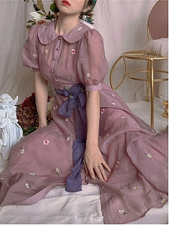 Monet's Garden French Embroidered Lapel Dress by Mu Qiao's Vintage