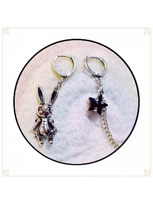 Gothic Vintage Lolita Bunny Chain Asymmetrical Earrings by Mr.Cat