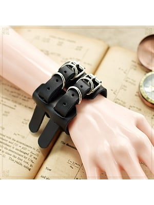 Gothic Lolita Steampunk Double Loops PU Leather Bracelet by Mr.Cat