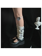 Cute Twist Lines Knitted Ankle Wears with Plaid Ribbon Lace-up by Ms. Sox
