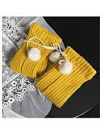 Cute Knitted Calf Wears with Plush Balls by Ms. Sox