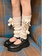 Cute Twist Lines Knitted Ankle Wears with Teddy Doll by Ms. Sox