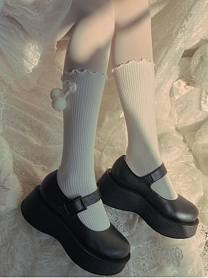 Cute Plush Ball Bowknot Lolita Stockings by Ms. Sox