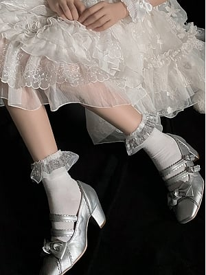 Shiny Lace Flounce Cotton Lolita Socks by Ms. Sox