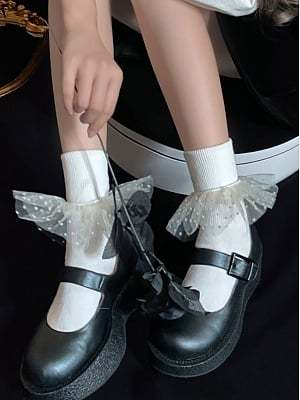 Elegant Gypsophila Tulle Flounce Cotton Lolita Socks by Ms. Sox