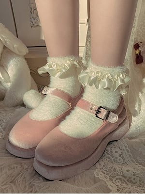 Elegant Satin Ruffle Plush Lolita Socks by Ms. Sox