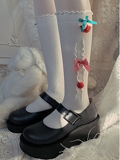 Merry Christmas Strawberry and Bowknot Decorated Stockings by Ms. Sox