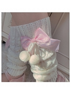 Cute Twist Lines Knitted Ankle Wears with Plaid Bowknots by Ms. Sox
