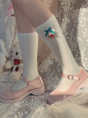 Strawberry Plush Lolita Stockings by Ms. Sox