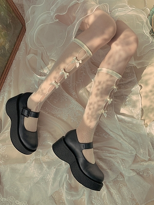 Exquisite Bowknots Cutout front Lolita Lace Stockings by Ms. Sox
