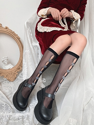 Plaid Heart Shaped Decoration Cutout front Lolita Stockings by Ms. Sox