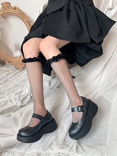 Satin Flounce Black Net Lolita Stockings by Ms. Sox