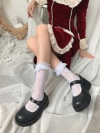 Retro Rose Pattern Lace Flounce Ankle Lolita Socks by Ms. Sox