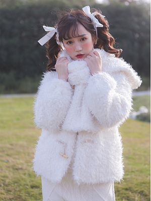 Cute Plush Short Coat for Autumn and Winter by Milk Tooth Studio