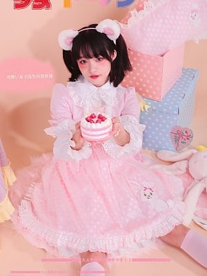 Stitching Embroidery Rabbit Fake Two Piece Vest Plush Dress by Milk Tooth Studio