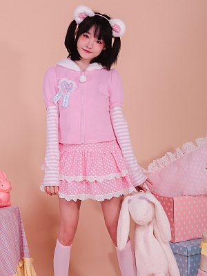 Bunny Ears Plush Hooded Pullover Stitching Striped Sleeve Pink Sweater by Milk Tooth Studio