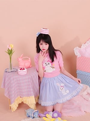 Pink Cute Rabbit Pullover Thin Sweater by Milk Tooth Studio