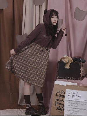 Hooded Brown Dress Autumn by Milk Tooth Studio