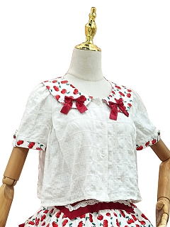 Cherry Tea Party Peter Pan Collar Sweet Lolita Shirt by Magic Tea Party