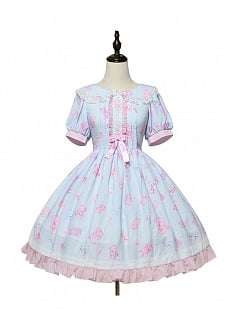 Jelly Bear Peter Pan Collar Sweet Lolita Dress OP by Magic Tea Party