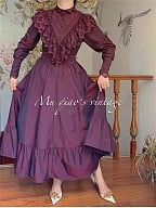 Vintage Deep Purple Ruffled Lace Decorated Bodice Dress For Fall and Winter by Mu Qiao's Vintage