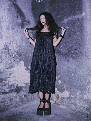 Back to Black Series Dark Gothic Lace Shoulder Straps Cami Dress by Metal Witch