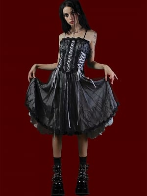 Back to Black Series Dark Gothic Lace-up Lace Cami Dress by Metal Witch
