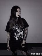 Corpse Paint Series Gothic Black Metal Girl Print Short Sleeves T-shirt by Metal Witch