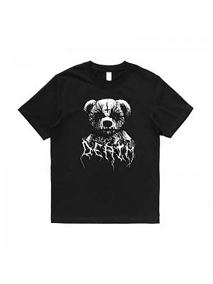Corpse Paint Series Gothic Dark Bear Print Short Sleeves T-shirt by Metal Witch