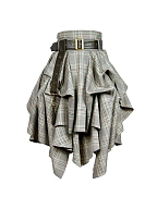 Steampunk Plaid Irregular Knee Length Skirt by Mr. Yi's Steamland