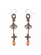 Steampunk Vintage Long Silver Needle Earrings by Mr. Yi's Steamland