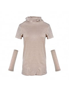 Pile Collar Silver Threads Knit Short Sleeve T-shirt With Oversleeve by Mr Yi's Steamland