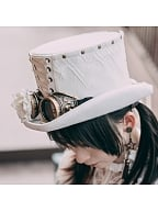 Steampunk White Lace Rose Goggles Wool Top Hat by Mr Yi's Steamland