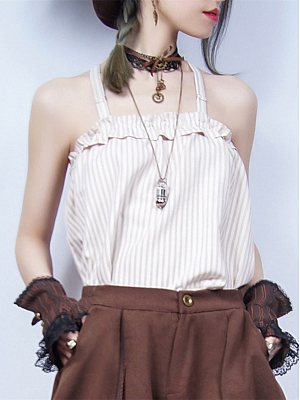 White Coffee Color Striped Cami Top by Mr Yi's Steamland