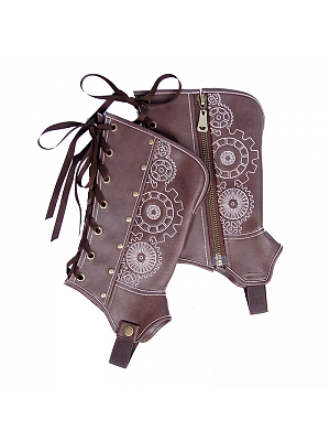 Steampunk Coffee Color Embroidered Studded Boot Cover by Mr Yi's Steamland