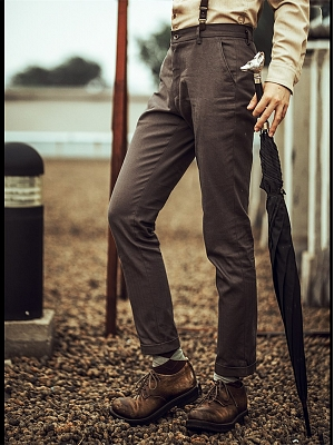 Vintage Herringbone Pattern Men's Suit Pants  by Mr Yi's Steamland