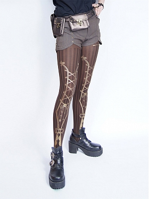 Steampunk Black Coffee Stripes 120D Printed Gear Velvet Tights by Mr Yi's Steamland