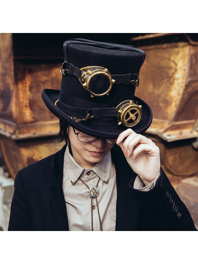 Black Hand made 100/% wool Steampunk Top Hat With Goggles Goth Cosplay Antique