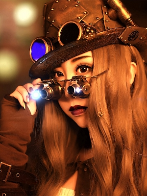 Handmade Steampunk Vintage Microscope Glasses With Light by Mr Yi's Steamland