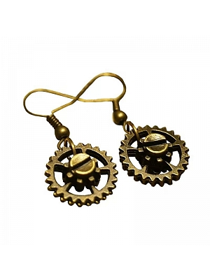 Handmade Steampunk Victoria Vintage Metal Gear Earrings by Mr Yi's Steamland