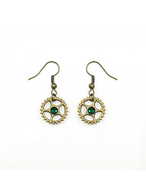 Handmade Steampunk Emerald Gear Earrings by Mr Yi's Steamland