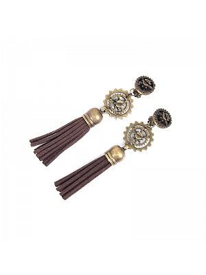 Handmade Steampunk Vintage Metal Gear Tassel Earrings by Mr Yi's Steamland