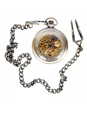 Vintage Brass Transparent Movement Watch Chain Mechanical Watch Pocket Watch by Mr Yi's Steamland