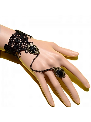 Metal Black Gemstone Lace Lolita Finger Ring Bracelet by Mr Yi's Steamland